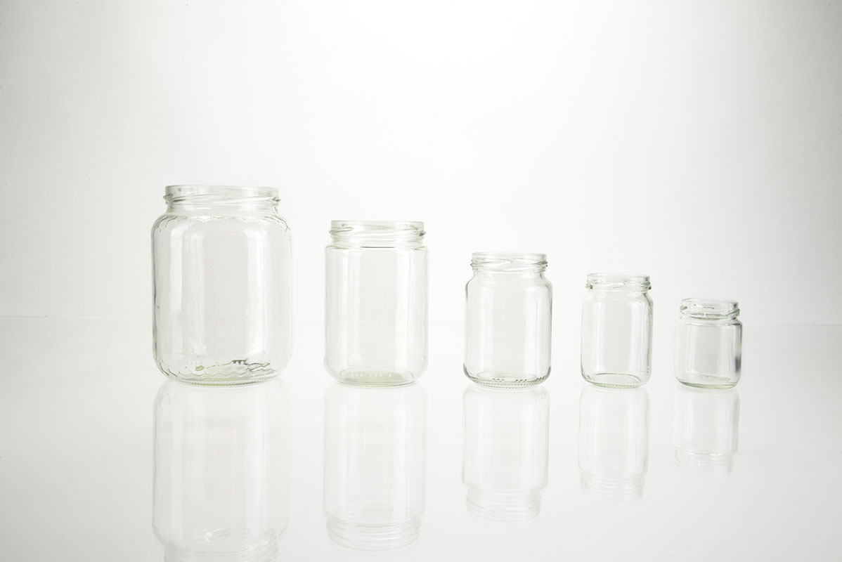 Bocaux ronds en verre forme haute