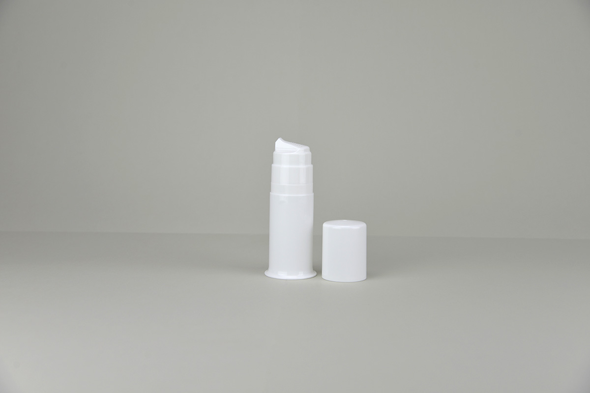 Flacons dispenser blancs pour gel et crème avec cylindre, piston, tête et couvercle