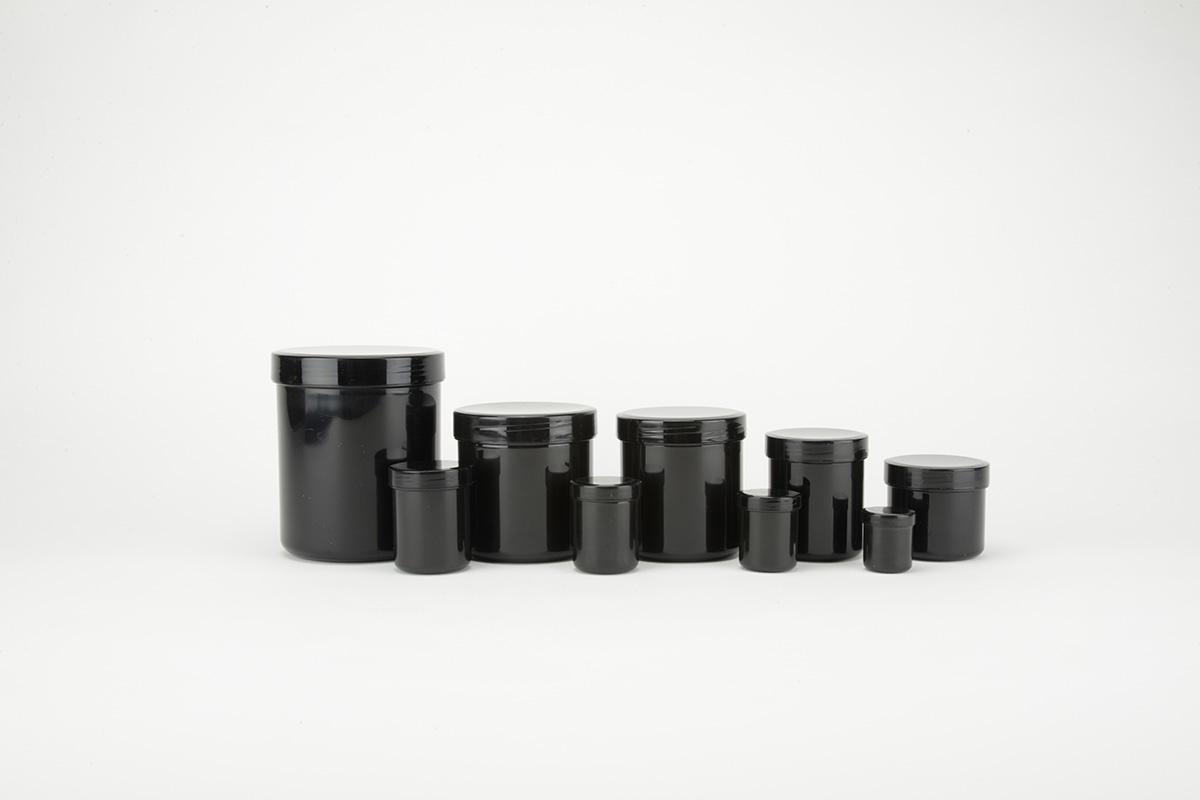 Pots à onguents en polypropylène noir
